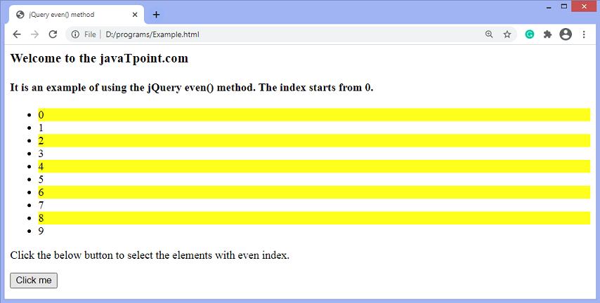 jQuery even() method