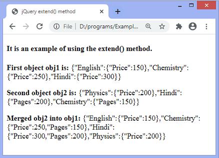 jQuery extend() method