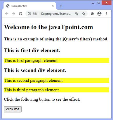 jQuery filter()