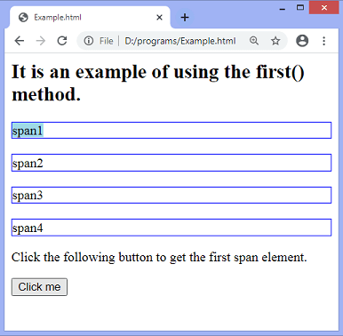 jQuery first() method