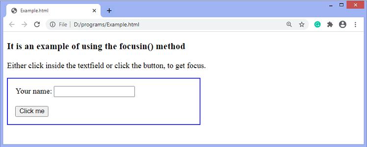 jQuery focusin() method