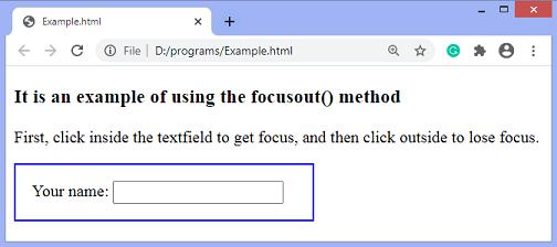 jQuery focusout() method