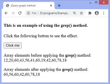 jQuery grep() method