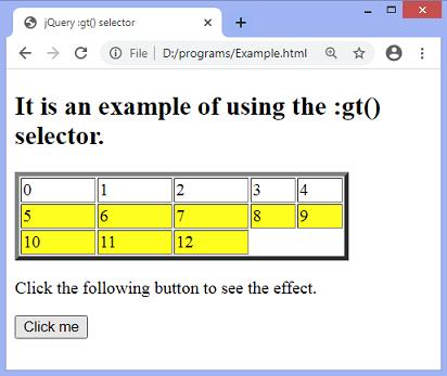 jQuery :gt() selector