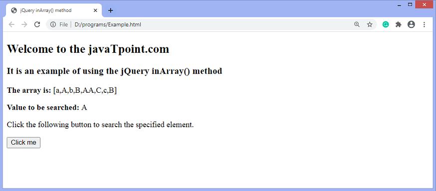 jQuery inArray() method