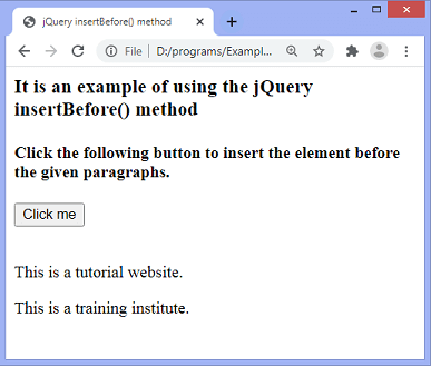 jQuery insertBefore() method