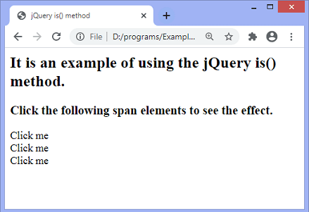 jQuery is() method