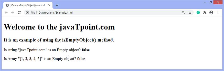 jQuery isEmptyObject() method