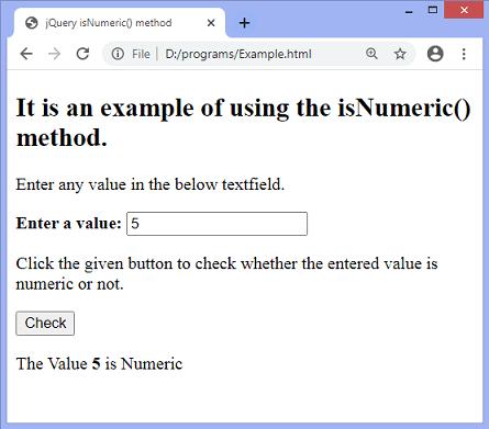 jQuery isNumeric() method
