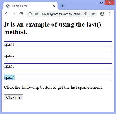 jQuery last() method