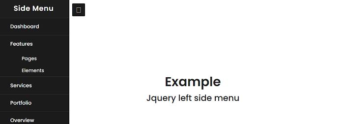 JQuery left side menu