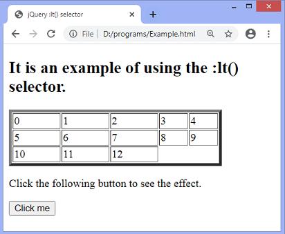 jQuery :lt() selector