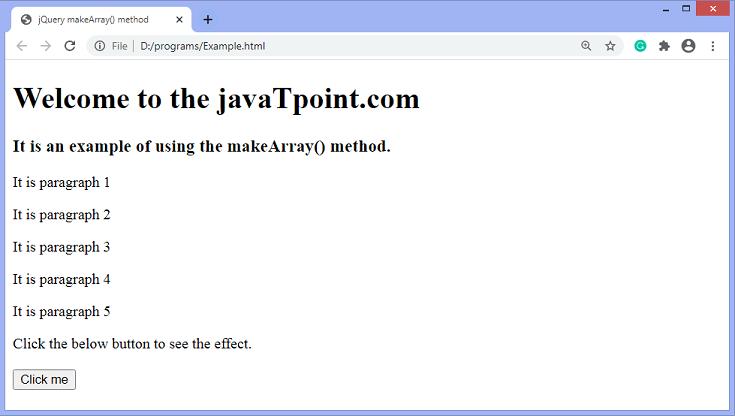 jQuery makeArray() method