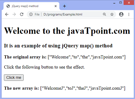 jQuery map() function