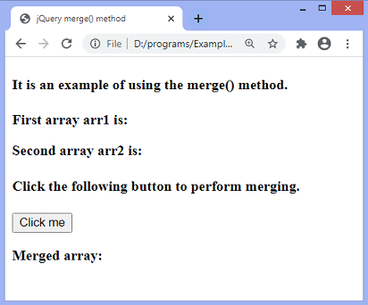 jQuery merge() method