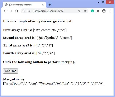 jQuery merge() method