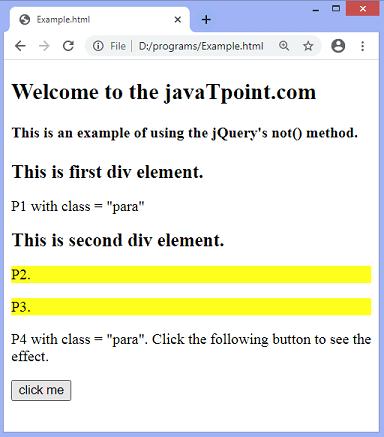 jQuery not() method