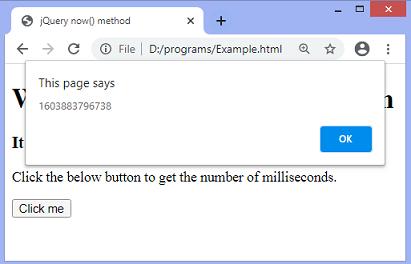 jQuery now() method