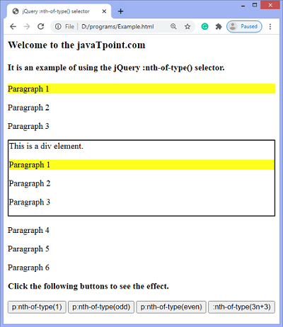 jQuery :nth-of-type() selector