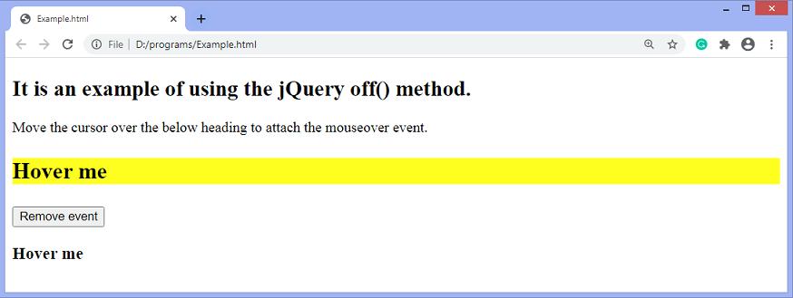 jQuery off() method