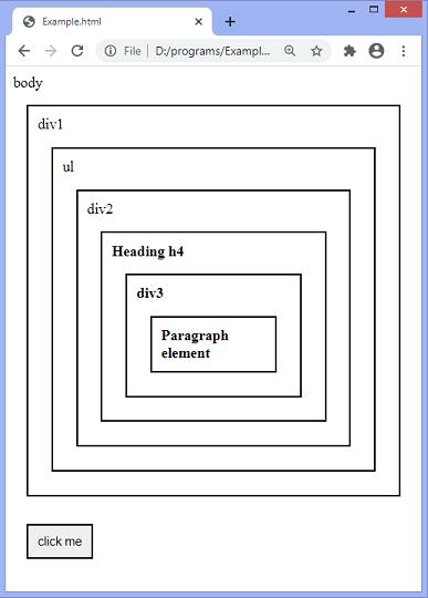 jQuery parentsUntil() method