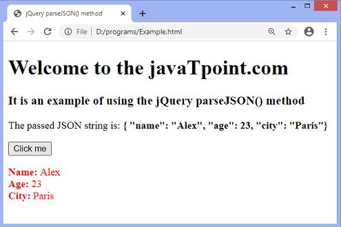 jQuery parseJSON() method