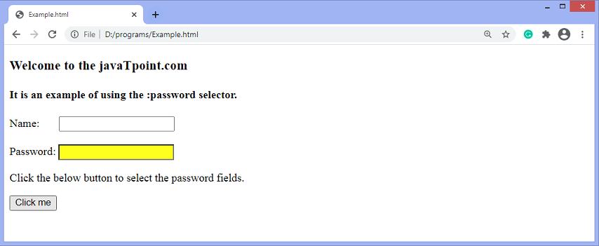 jQuery :password selector