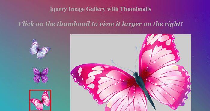JQuery photo gallery with thumbnail