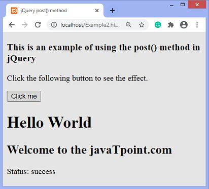 jQuery post() method