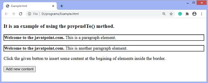 jQuery prependTo() method