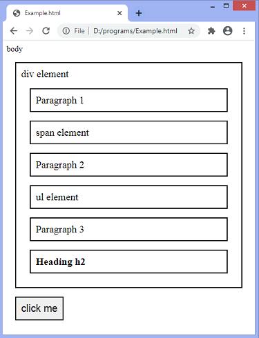 jQuery prevAll() method