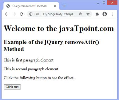 jQuery removeAttr() method