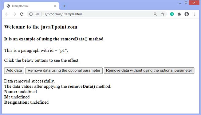 jQuery removeData() method