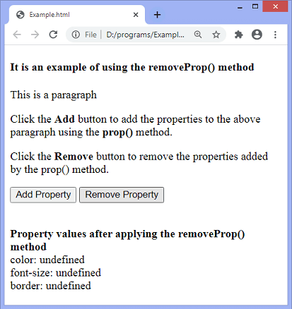 jQuery removeProp() method