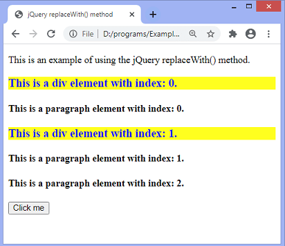 jQuery replaceWith() method