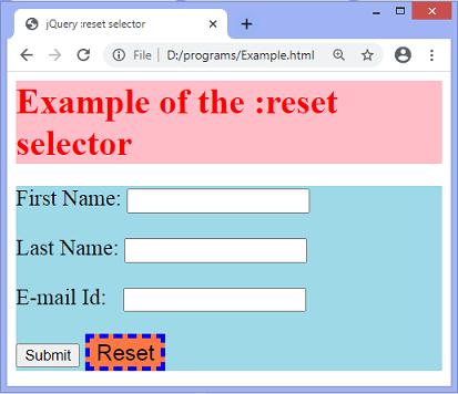 jQuery :reset selector