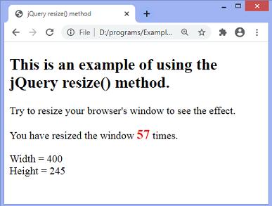 jQuery resize() method