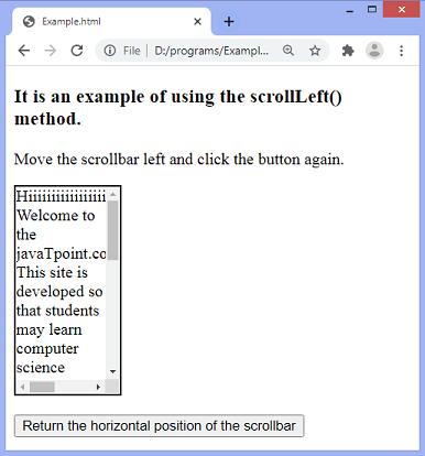 jQuery scrollLeft() method