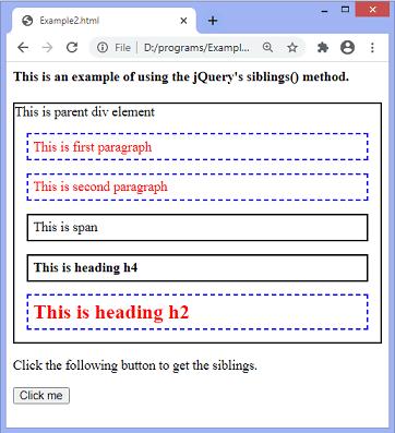 jQuery siblings() method