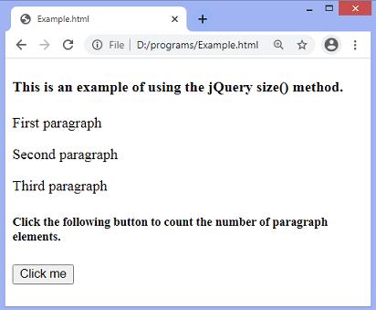 jQuery size() method