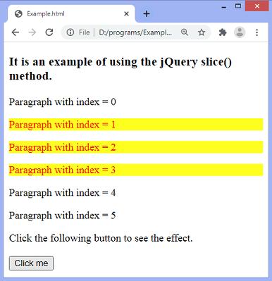 jQuery slice() method