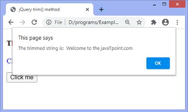 jQuery trim() method