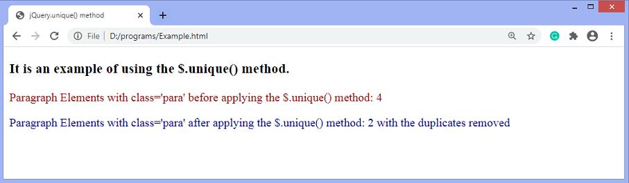 jQuery.unique() method