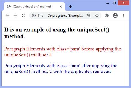 jQuery.uniqueSort() method