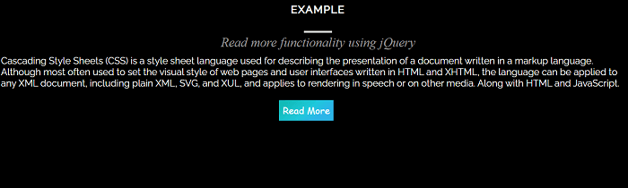 Read more functionality using jQuery