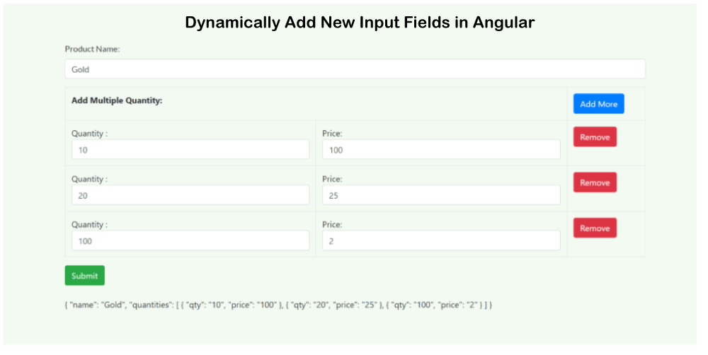 Dynamically Add and Remove Form Fields in Angular
