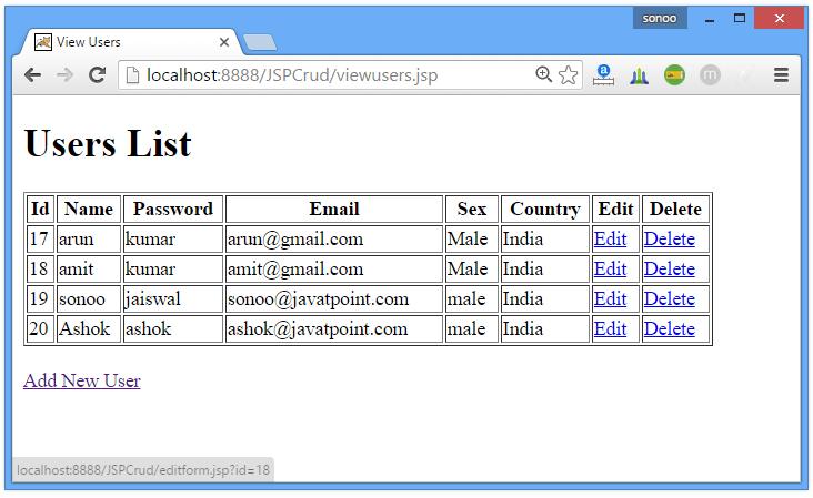 JSP CRUD Example 4