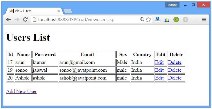 JSP CRUD Example 7