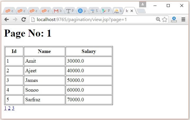 JSP Pagination Example 2