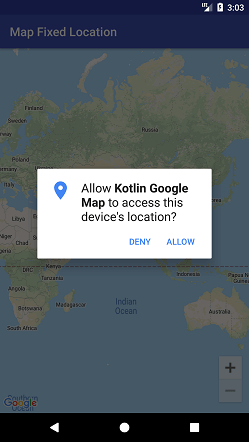 Kotlin Android Google Map Fixed Location